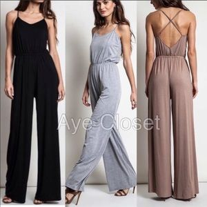 e68f22deb69 Criss cross back jumpsuit wide leg pants